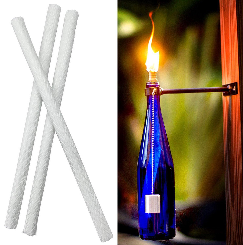 15 Pcs Fiberglass Replacement Tiki Torch Wicks for Wine Bottles /& Oil Lamps