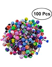 Frcolor 100 Piece Mixed Belly Button Rings, Piercing Color Jewelry For Body Decoration (Mixed Color)