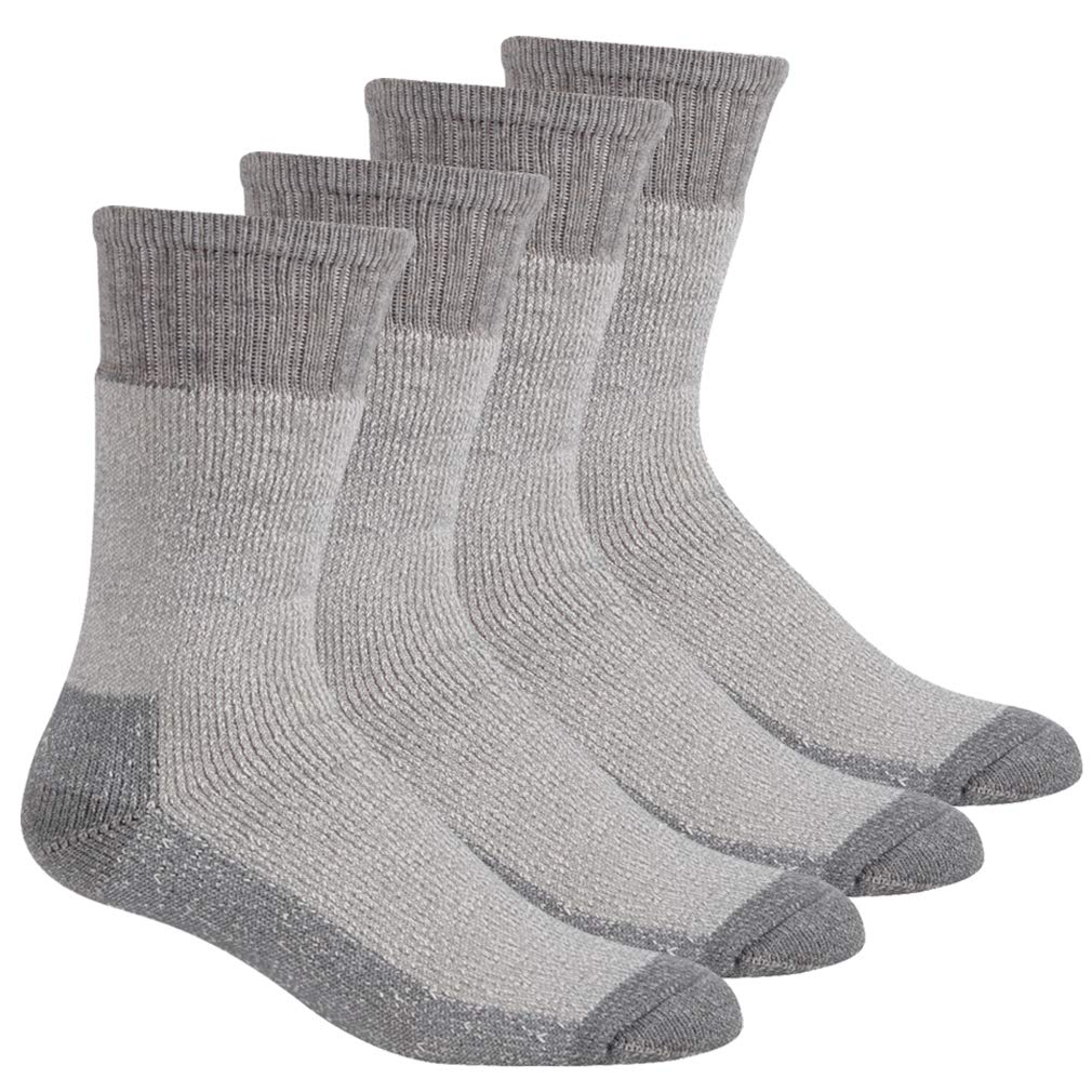 RTZAT Merino Wool Athletic Hiking Crew Socks for Spring Summer, Trekking Performance Outdoor Sports, Grey, 4 Pairs, Small by RTZAT