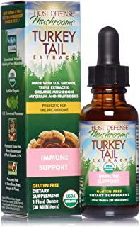 product image for Host Defense, Turkey Tail Extract, Natural Immune System and Digestive Support, Daily Mushroom Mycelium Supplement, Organic, 1 fl oz (15 Servings)