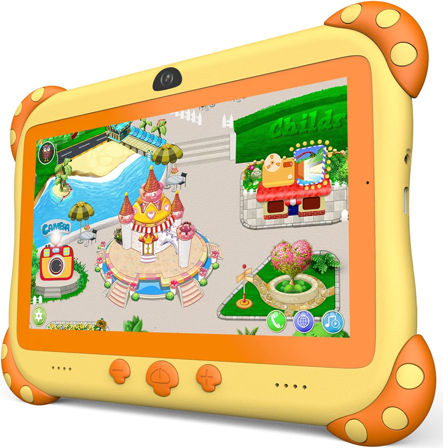 Kids Tablet 7 inch WiFi Kids Tablets 32G Android Tablet for Kids Dual Camera Educational Games Parental Control, Toddler Tablet with Kids Software Pre-Installed Kid-Proof YouTube Netflix (Yellow)