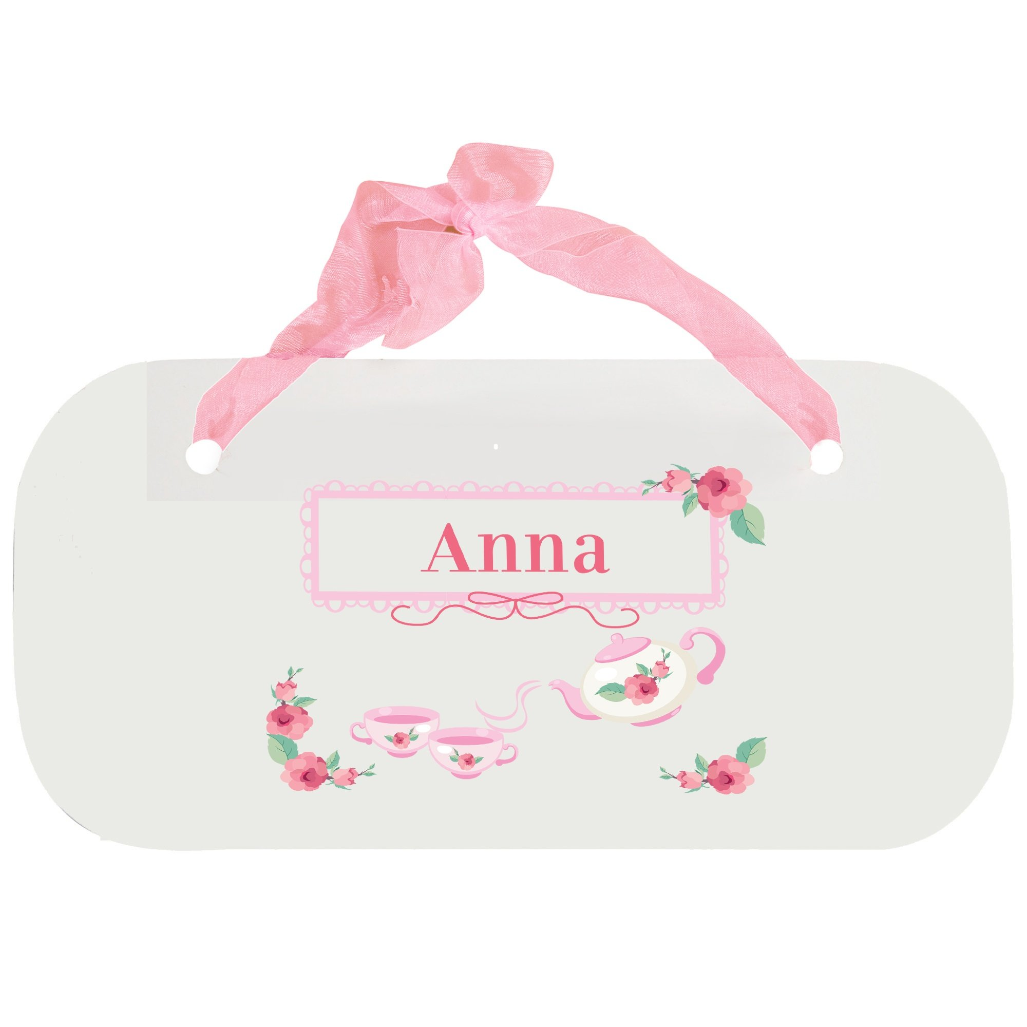 Personalized Tea Party Wooden Door Hanger With Blue Ribbon