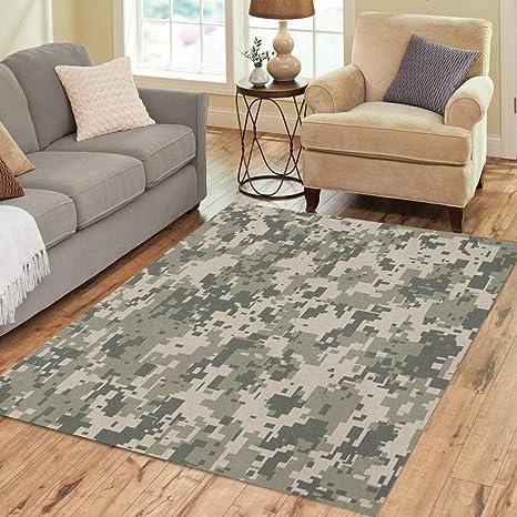 Amazon Com Pinbeam Area Rug Gray Camo Digital Pixel Camouflage Khaki Pattern Army Home Decor Floor Rug 3 X 5 Carpet Kitchen Dining