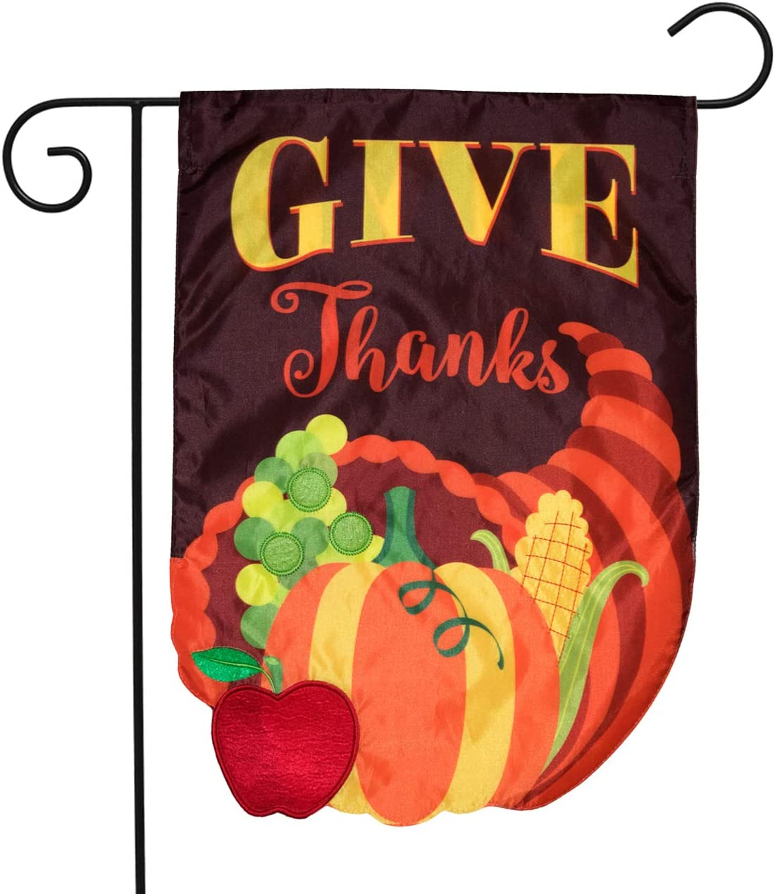 "Briarwood Lane Cornucopia Applique Autumn Garden Flag Thanksgiving Double Sided 12.5"" x 18"""