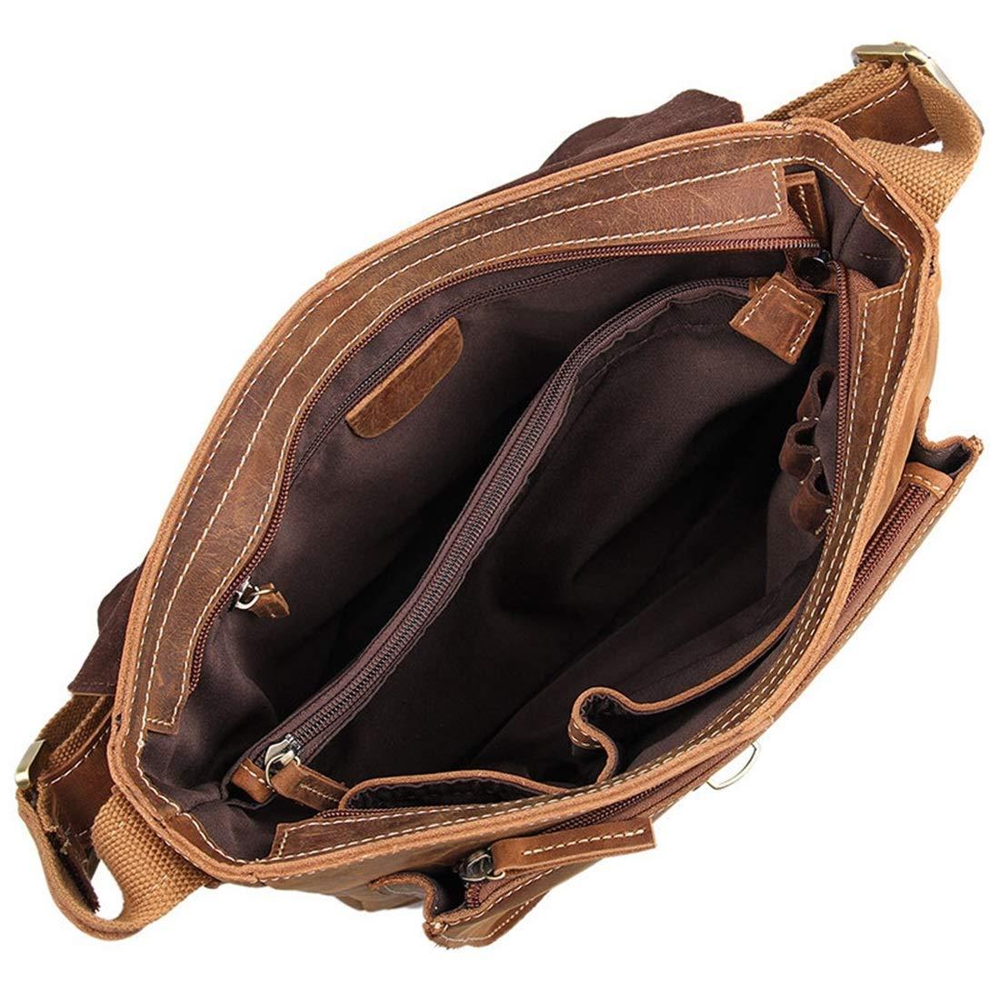 XIAMEND Mens Messenger Shoulder Bag Vintage Briefcase Crossbody Bag for School and Work Color : Brown
