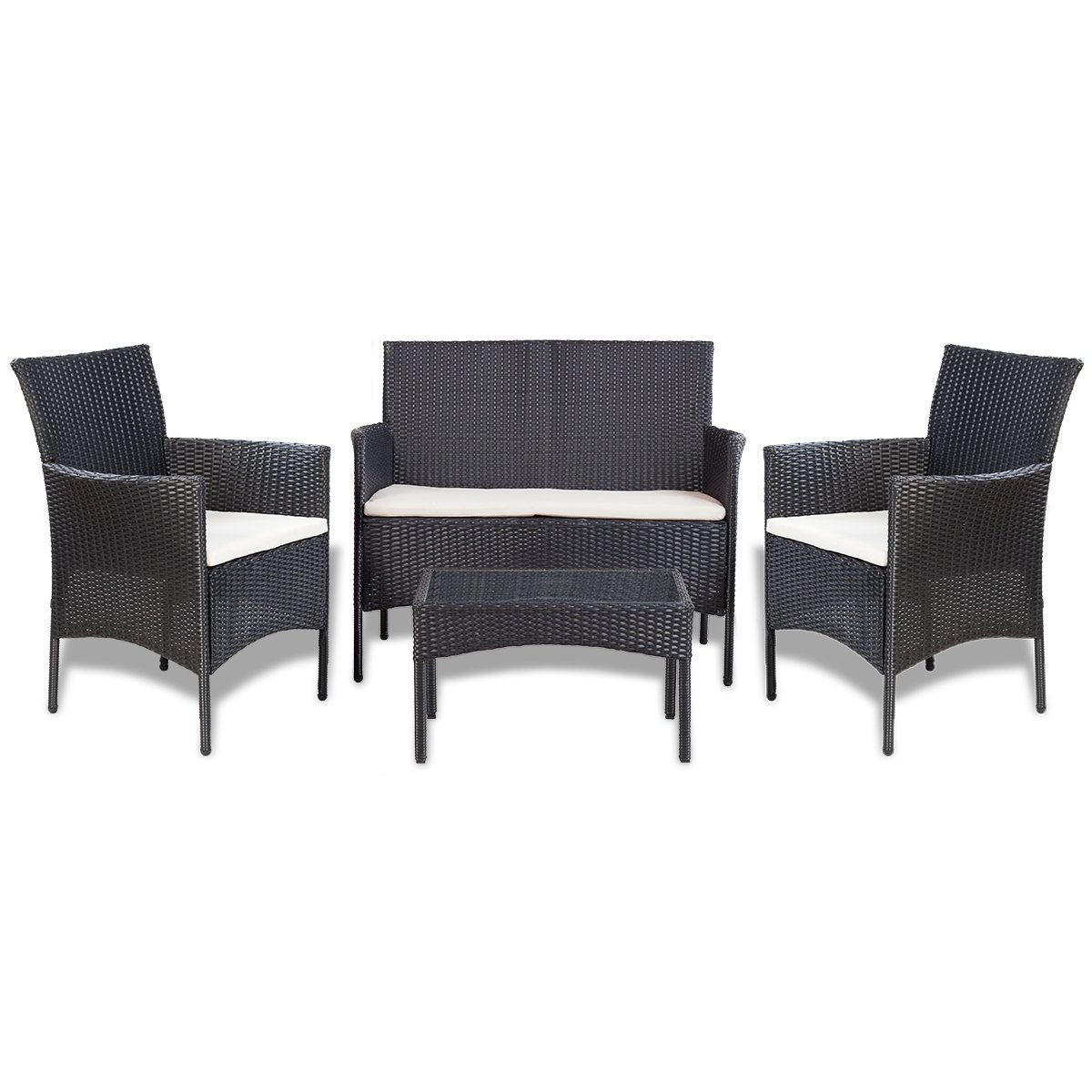 vidaXL 7-tlg. Gartenmöbel Lounge-Set Poly Rattan Schwarz