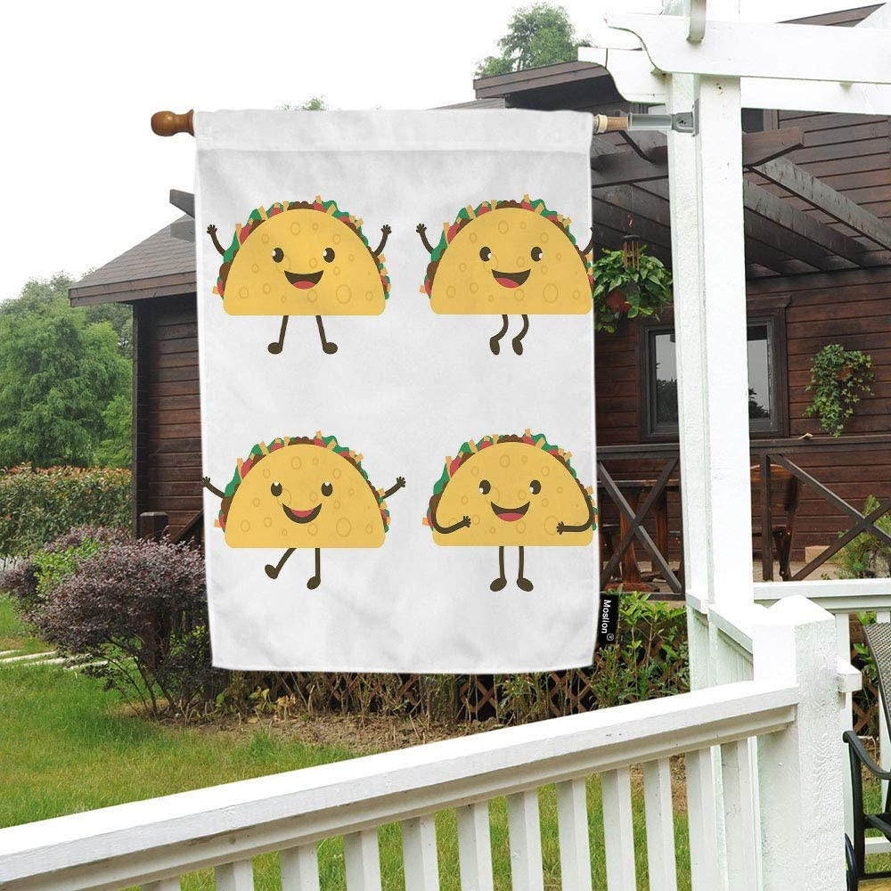 Moslion Mexico Taco House Flag Mexican Fast Food Cartoon Tacos Grimaces Smiles Emotions Garden Flags 28x40 Inch Double-Sided Banner Welcome Yard Flag Home Outdoor Decor. Lawn Villa
