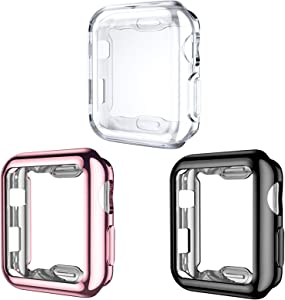Henva Case Compatible with Apple Watch SE 44mm Series 6, Series 5, Series 4, Overall Protective Soft Case Ultra-Thin TPU Cover Compatible for iWatch Series 5/4 44mm, 3 Pack, Rose Pink/Clear/Black