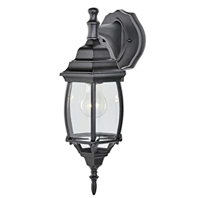 NOMA Four-Sided Outdoor Wall Lantern | Waterproof Outdoor Down-Facing Exterior Lights for Front Door, Backyard, Garage, Patio or Décor | Black Finish with Clear Bevelled Glass Panels