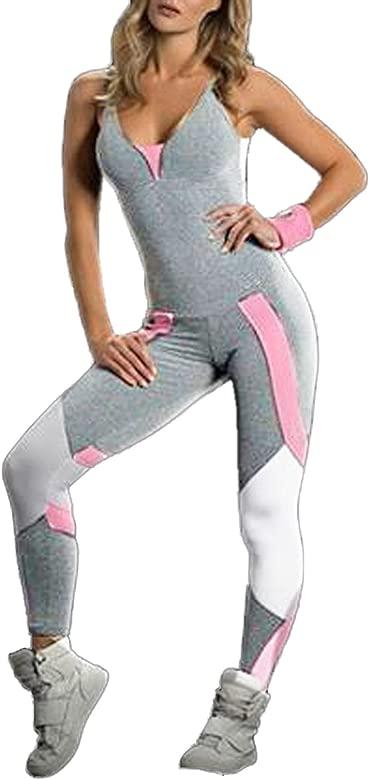 JackenLOVE Mujer Mono Moda Color Splicing Bodysuit Rompers Playsuits de Deportiva Jogging Yoga Sexy Cuello V Tirantes Sin Respaldo Vendaje Mamelucos ...