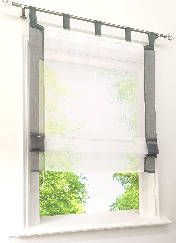 LxH 60x155cm, Beige//Blanc 1 Panneau Store Romain Transparent Bordure Jointif Store Bateau