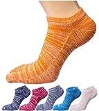 WIOIW 5本指ソックス ショートソックス レディース靴下 スポーツ くるぶし丈 吸汗速乾 抗菌防臭 6色セット
