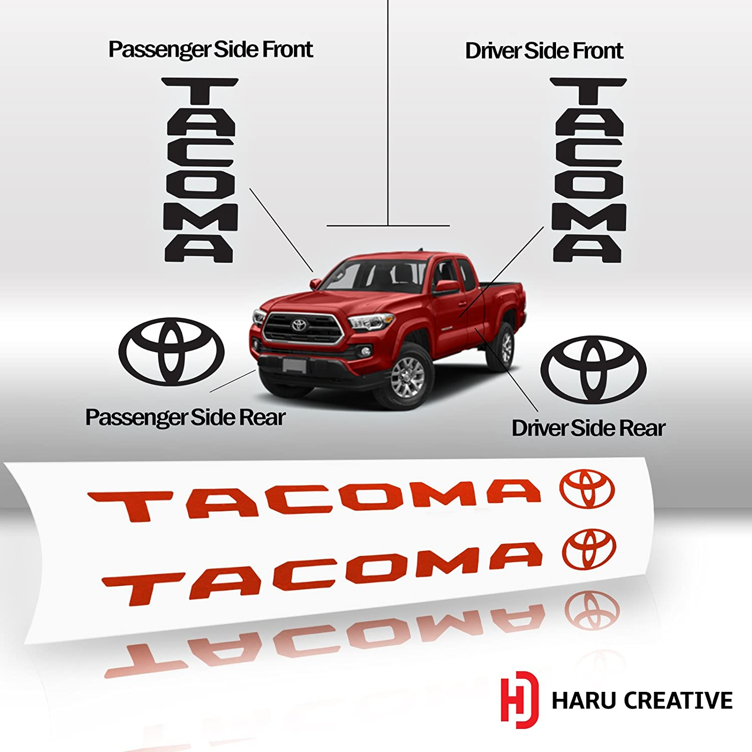 Four Door Set Haru Creative Toyota Tacoma 2016 2017 2018 Door Sill Protector Letter Overlay VInyl Decal - Metallic Matte Chrome Red