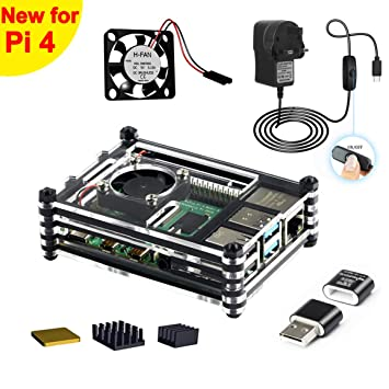 Jun_Electronic - Carcasa para Raspberry Pi 4 (5 V, 3 A) Case ...