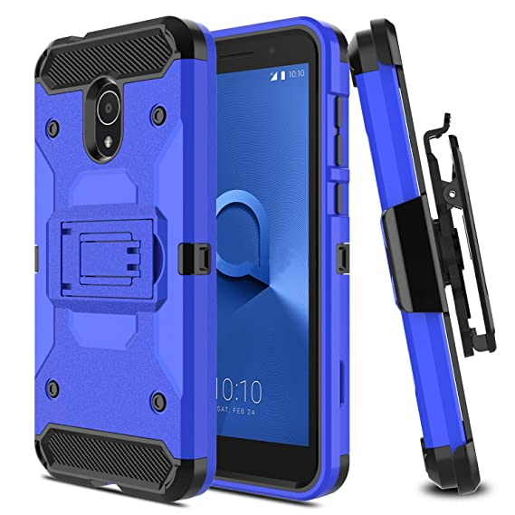 USHAWN Compatible Alcatel TCL LX A502DL / Alcatel IdealXtra/Alcatel 1X  Evolve Case, Hybrid Heavy Duty Shockproof Protective Holster Phone Case  Cover