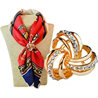 Tinksky Women's Rhinestone Decorated 3 ring Scarf Shawl Ring Clip (Golden)