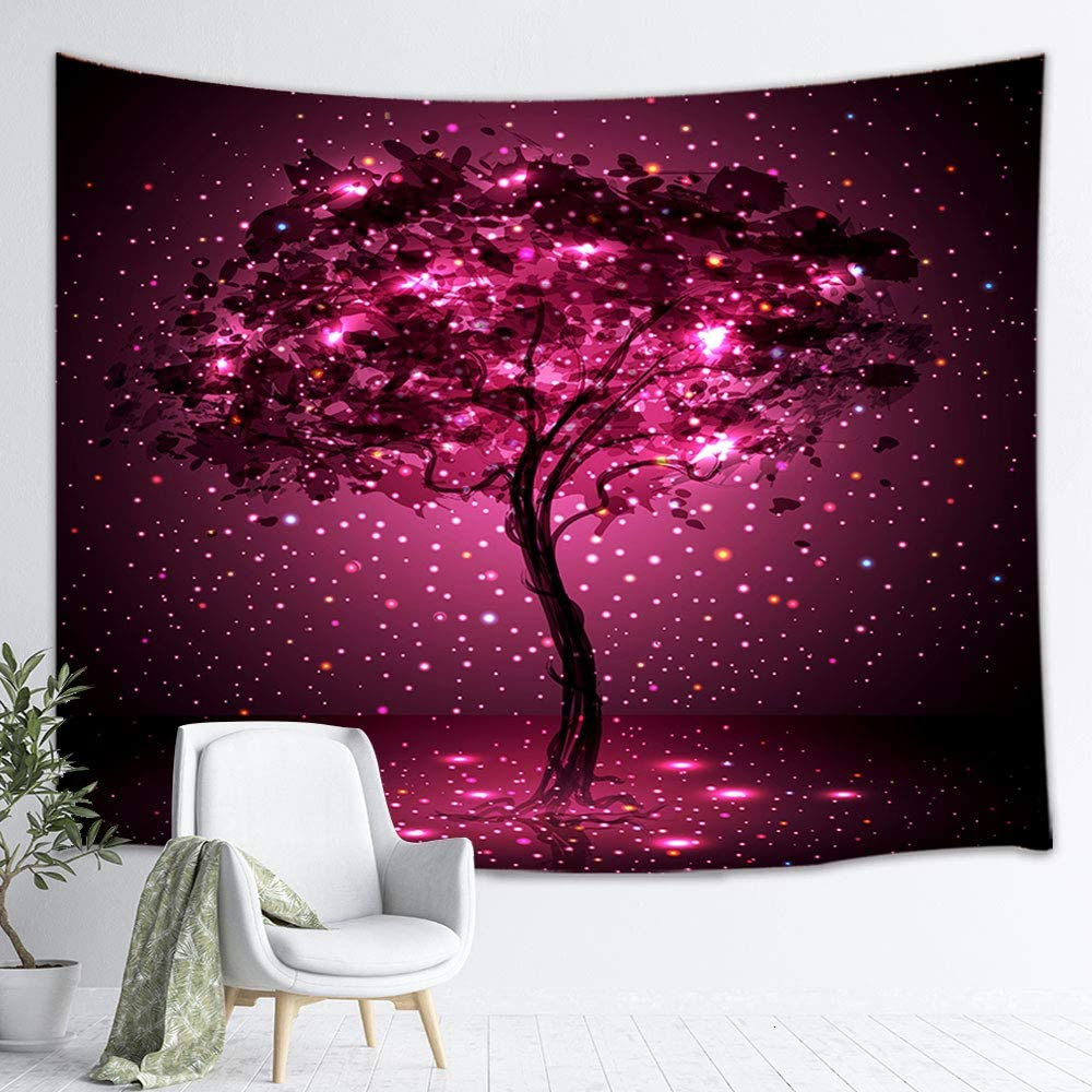 Mystic Elves Tree Tapestry Wall Hanging, Fantasy Tree of Life Tapestrise Fairytale Forest Enchanted Wonderland Tree, Panels for Bedroom Living Room Dorm TV Backdrop Beach Blanket 3D Print 71X60 Inches