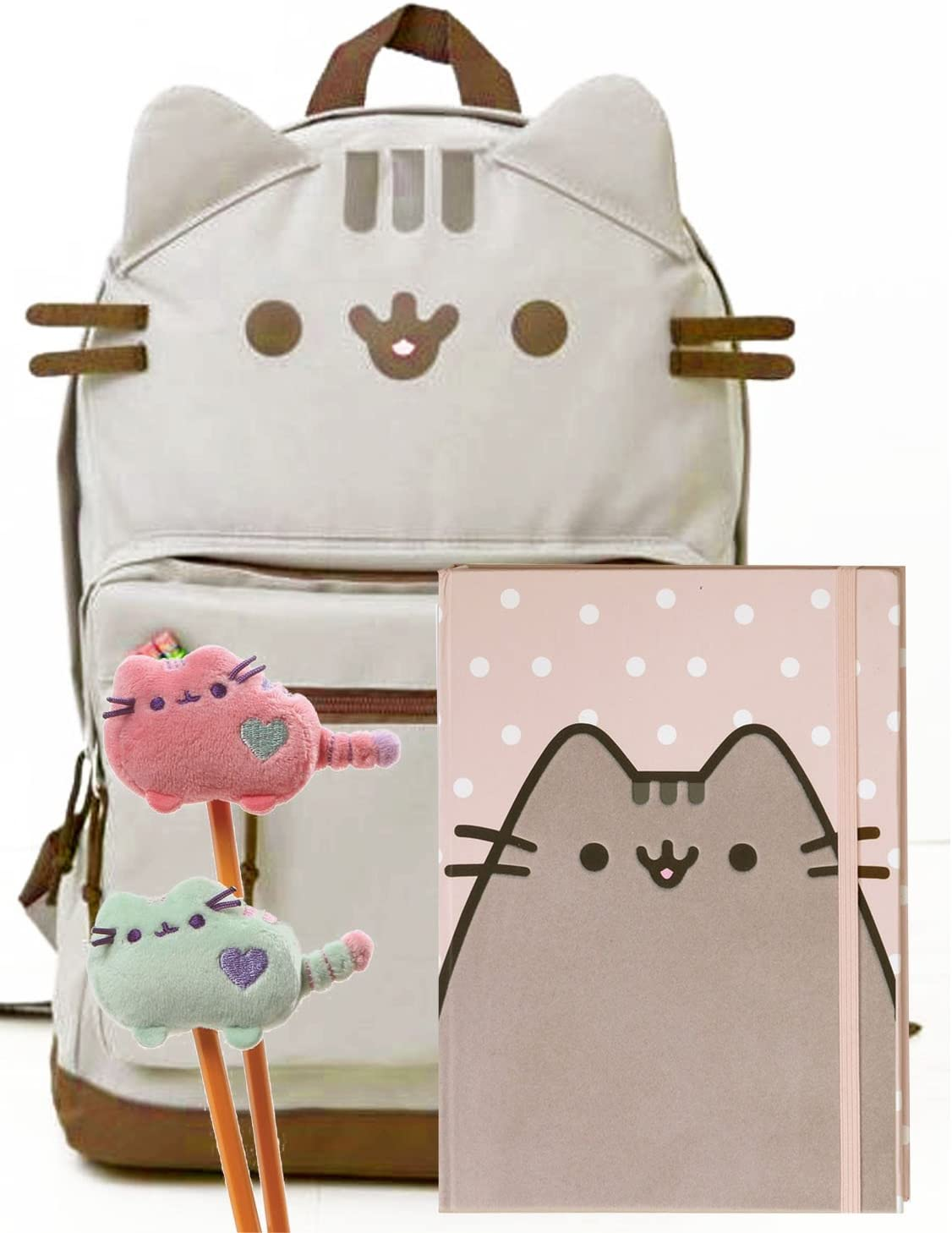 Pusheen Polka Dot Notebook And Two Plush Pencil Toppers Gift For Student Pusheen Cat Face Backpack Pusheen The Cat Back To School Set