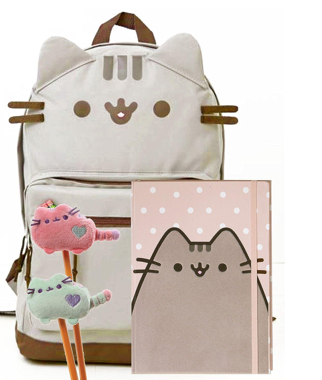 Pusheen猫をBack to Schoolセット – Pusheen Cat Faceバックパック、Pusheen Polka Dotノートブックと2つPlush Pencil Toppers – ギフトの学生   B075CYDQKM