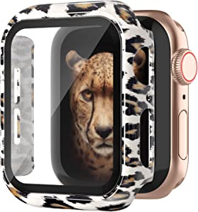Goosehill Compatible Apple Watch Case 44mm Series 6/5/4/SE with Tempered Glass Screen Protector, Full Cover Ultra-Thin Hard PC Bumper Fashion Leopard Protective Case for Women Girls iWatch