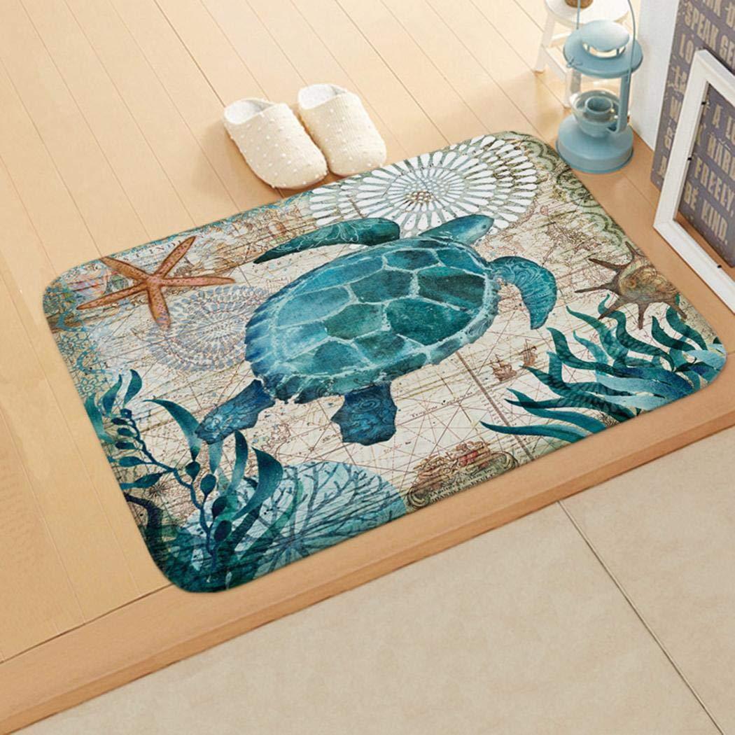 GuGio Sea Turtle Print Floor Mat Bathroom Rug,Soft Non Slip Watercolor Sea Ocean Animal Kitchen Bathroom Bath Shower Bedroom Mat Toilet Floor Door Rug Carpet Mat Doormat