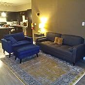 Mid Century Modern Linen Fabric Living Room Sofa (Purple)