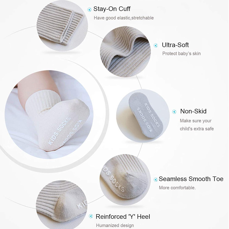 Amazon.com: Calcetines antideslizantes para bebé con agarres ...