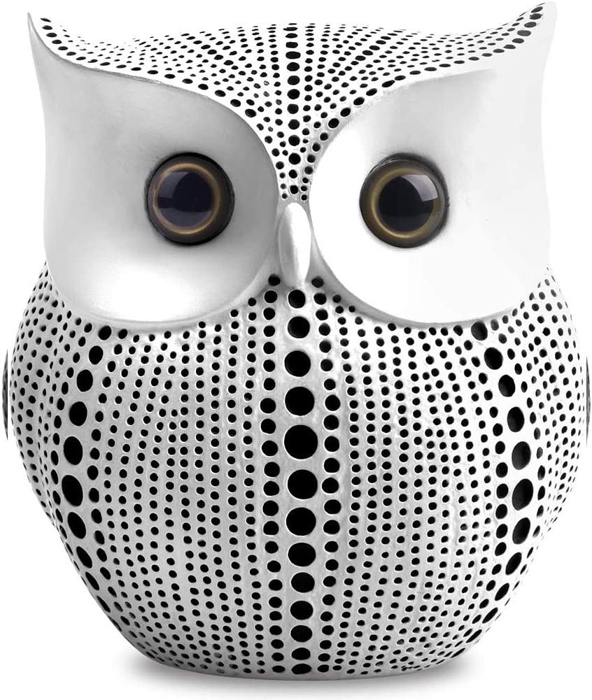 White Owl Statue Decor. Owl Figurines. Modern Home Decor, Bird Statue, Small Decor Items For Shelf, Living Room Bedroom Office Decoration, Bookshelf Decor, TV Stand Decor - Owl Gifts For Owl Lovers