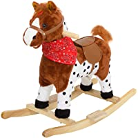 Baybee Wooden Horse for Kids/Baby-Rocking Horse for Kids/Toddlers/Baby 3 Years with Realistic Sounds Rocking Toys for Kids| Safely Holds Children ( Brown )