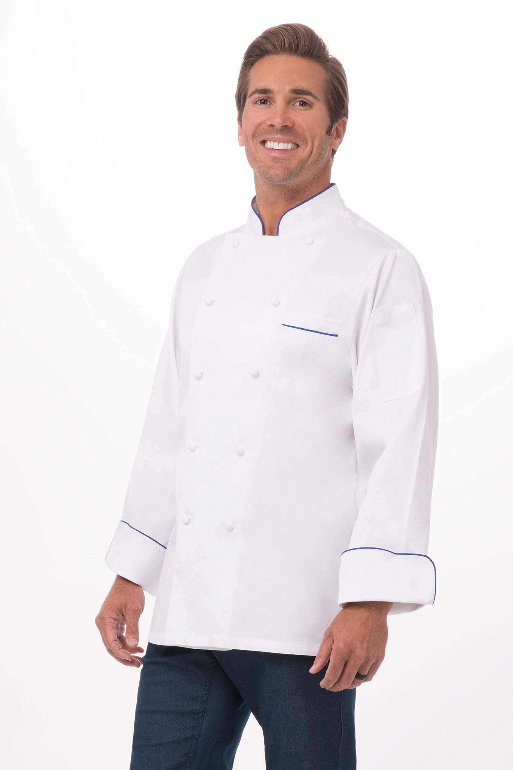 Chef Works Men's Carlton Premium Cotton Chef Coat, White W/Blue Piping, 38 by Chef Works