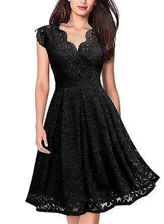 3f8378c70b MIUSOL Women s Floral A-Line Lace Cap Sleeve Cocktail Dress Black X-Small