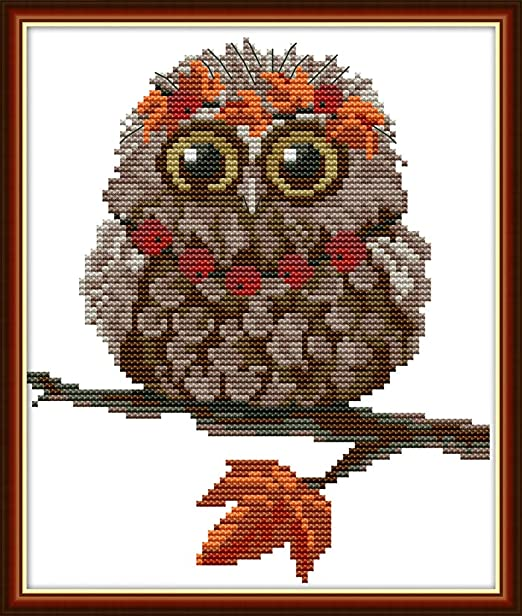 New Counted Cross Stitch Embroidery Kit MP-Studio Brown owl Forest Oven