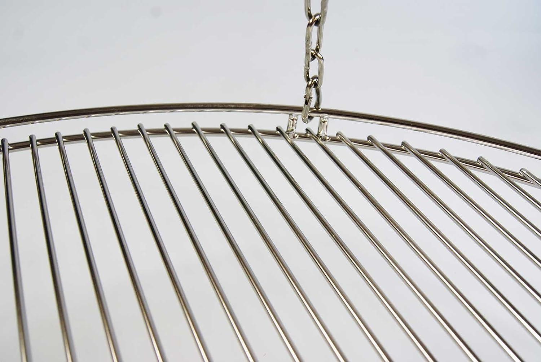 Edelstahl Karabiner Schwenkgrill mit 3 Aufh/änge/ösen Grill Neu Edelstahl Seilwirbel Edelstahl Kette Grillclub Edelstahl Grillrost 70 cm nur 10 mm Stababstand mit Reling
