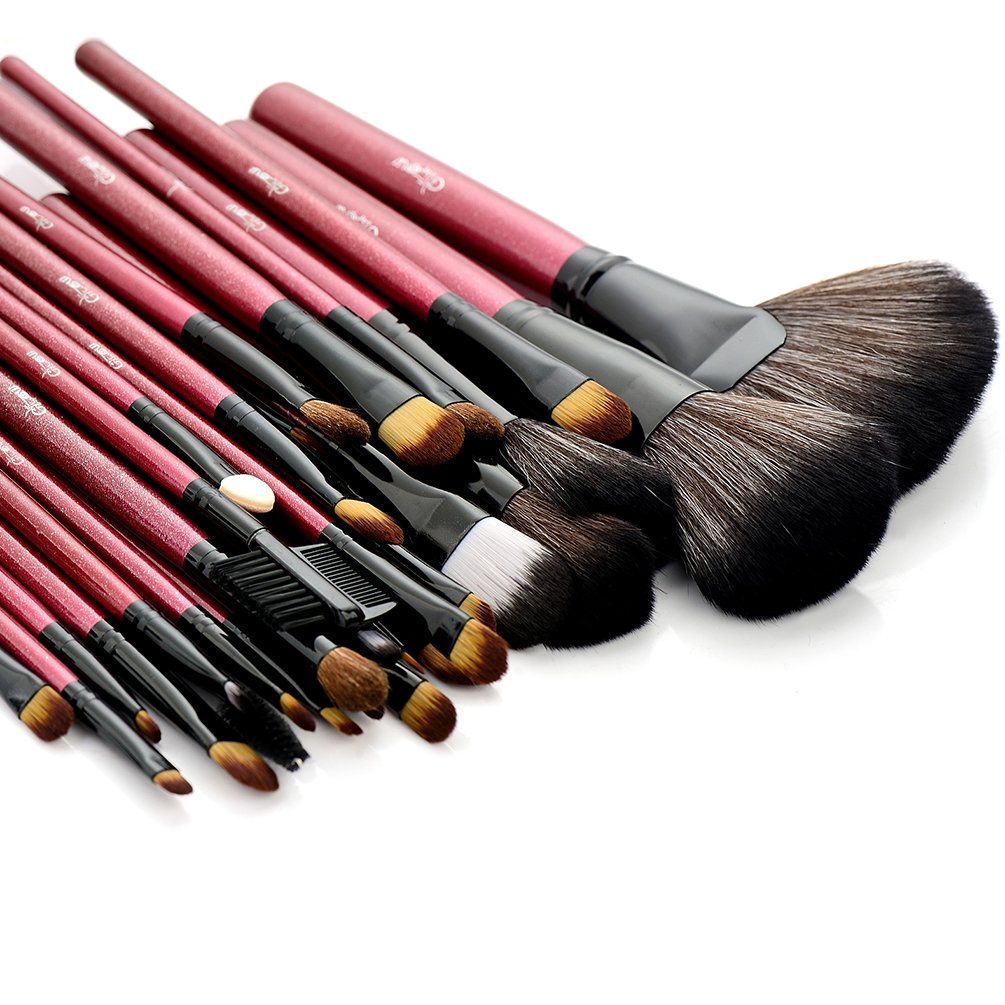 Glow 30 Pc Professional Wooden Handle Makeup Brushes Set in Red Case Paragon Enterprise Limited Glow-MB-74