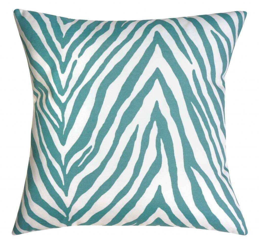 Amazon Turquoise And White Throw Pillows Indoor Outdoor Couch Zebra Animal Print 18 X Home Kitchen
