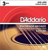 D'Addario EJ17 Phosphor Bronze Medium Acoustic Strings 3-Pack