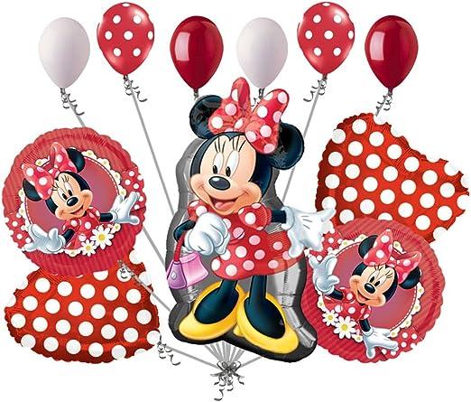 Amazon.com: Ramo de globos de cumpleaños de Minnie ...