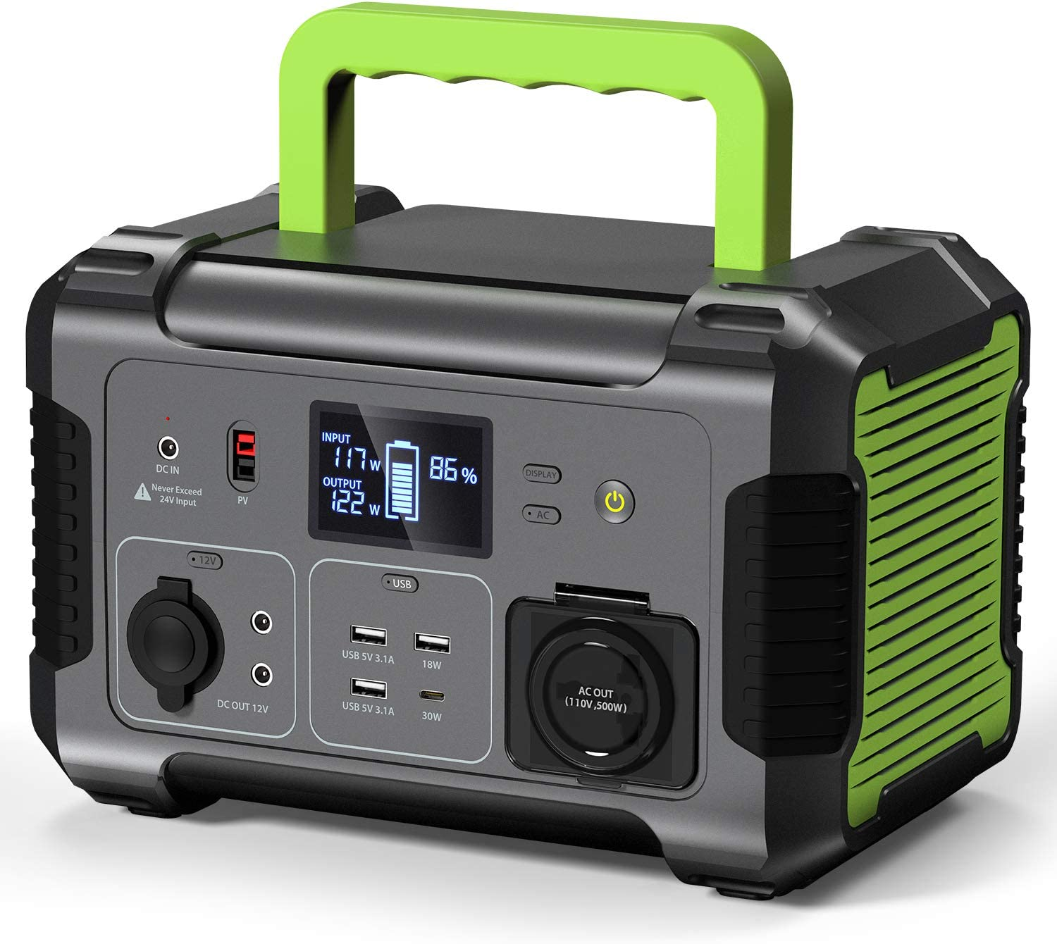 PAXCESS 500W 519Wh Portable Power Station Solar Generator with 12V Regulated Power