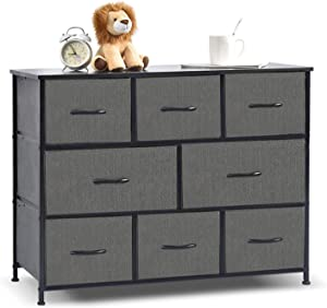 NSdirect Extra Wide Drawer Dresser Storage Organizer 8-Drawer Closet Shelves, Dressers Storage Chest for Bedroom, Living Room, Hallway & Nursery with Easy Pull Fabric Bins Wood Top