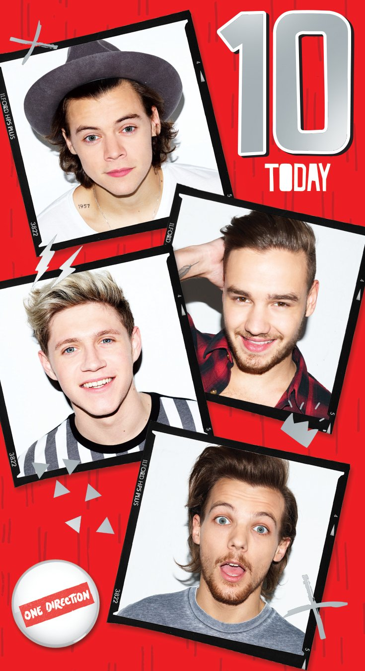 Official One Direction (1D) Birthday Card - Age 10 Danilo OfficeCentre OD004