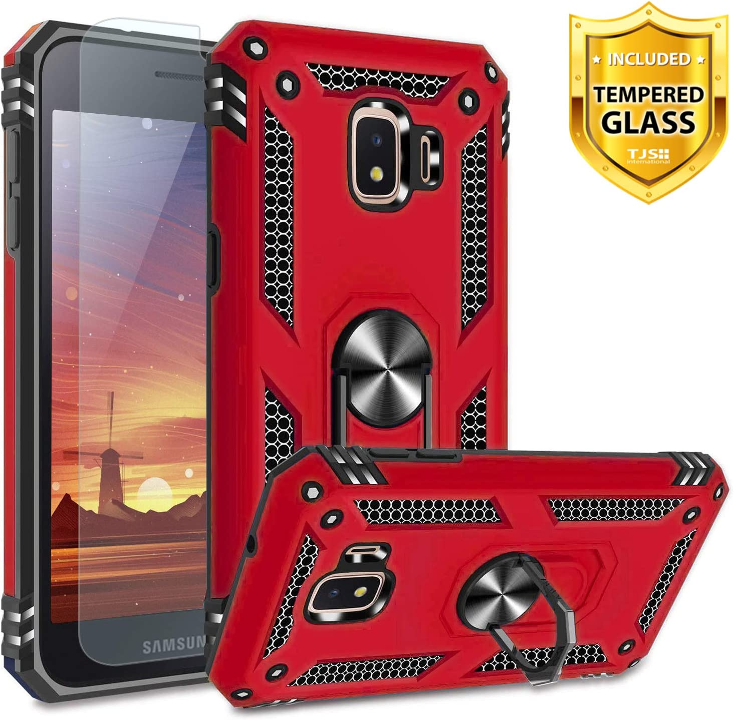 TJS Phone Case for Samsung Galaxy J2 Core/J2 2019/J2 Pure/J2 Dash/J2 Shine, with [Tempered Glass Screen Protector][Impact Resistant][Defender][Metal Ring][Magnetic Support] Heavy Duty (Red/Black)
