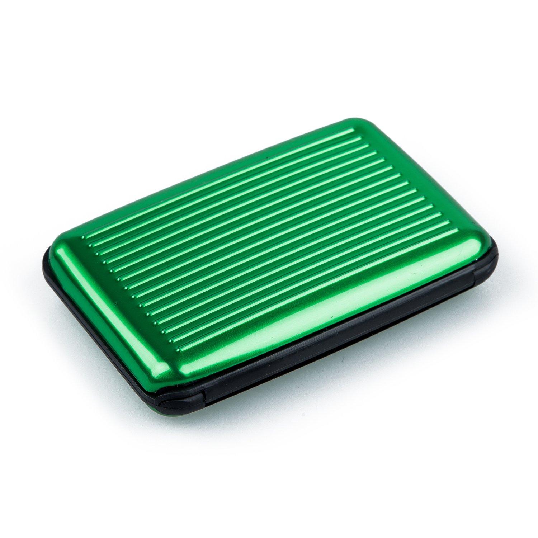 SODIAL(R) Id Holder Business Card Holder Portafoglio in alluminio Portacenere in metallo-verde chiaro 037109A2