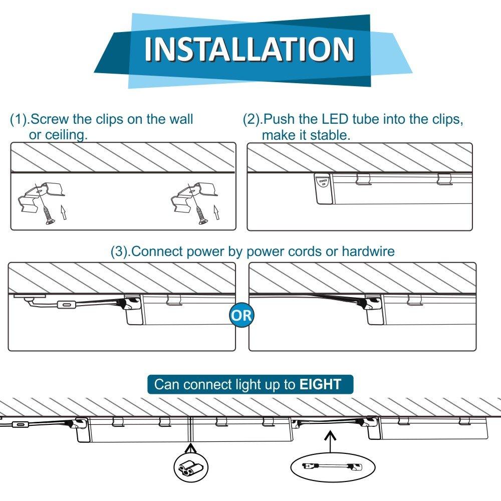 Barrina LED T5 Integrated Single Fixture, 4FT, 2200lm, 5000K ...