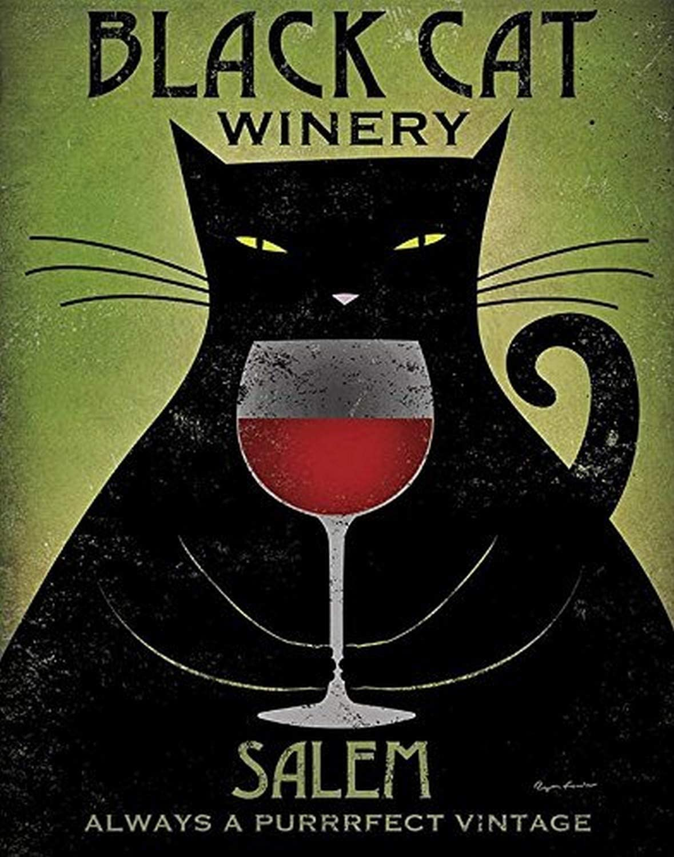 Buyartforless Black Cat Winery Salem by Ryan Fowler 14x11 Art Print Poster - Always The Purrrfect Vintage