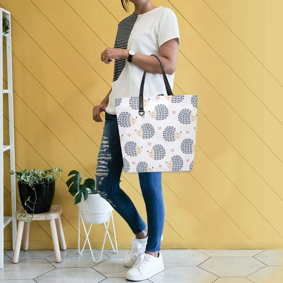 Tote Bag Picture Vintage Crossbody for Women Leather Purse Handbag Animal Cute Animal Heart Dots