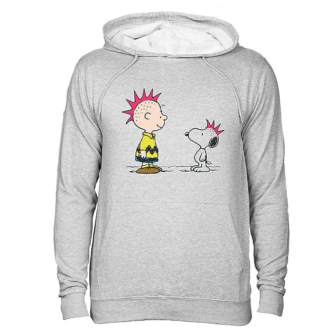 Peanuts Logos Charlie Brown and Snoopy Punks Unisex Sudadera con capucha Gris XXL: Amazon.es: Ropa y accesorios