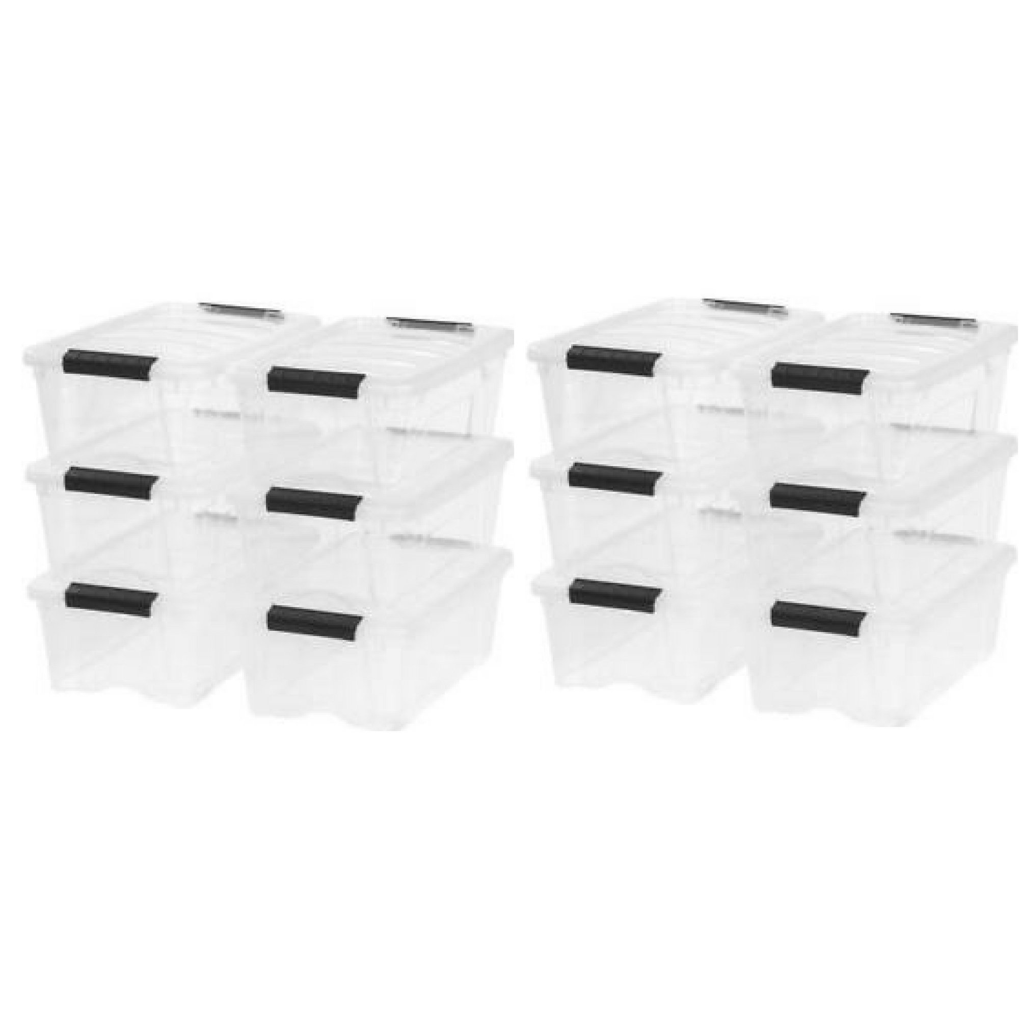 IRIS 12 Qt. Stack & Pull Plastic Storage Box, Clear Set of 12