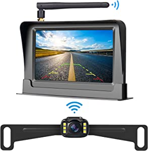 LeeKooLuu HD 720P Wireless Backup Camera and 4.3'' Monitor System for Cars/Pickup/ATVs/SUVs/UTVs/Can-Am IP69 Waterproof 6 LED Light Night Vision Rear/Front View with Grid Lines DIY Setting