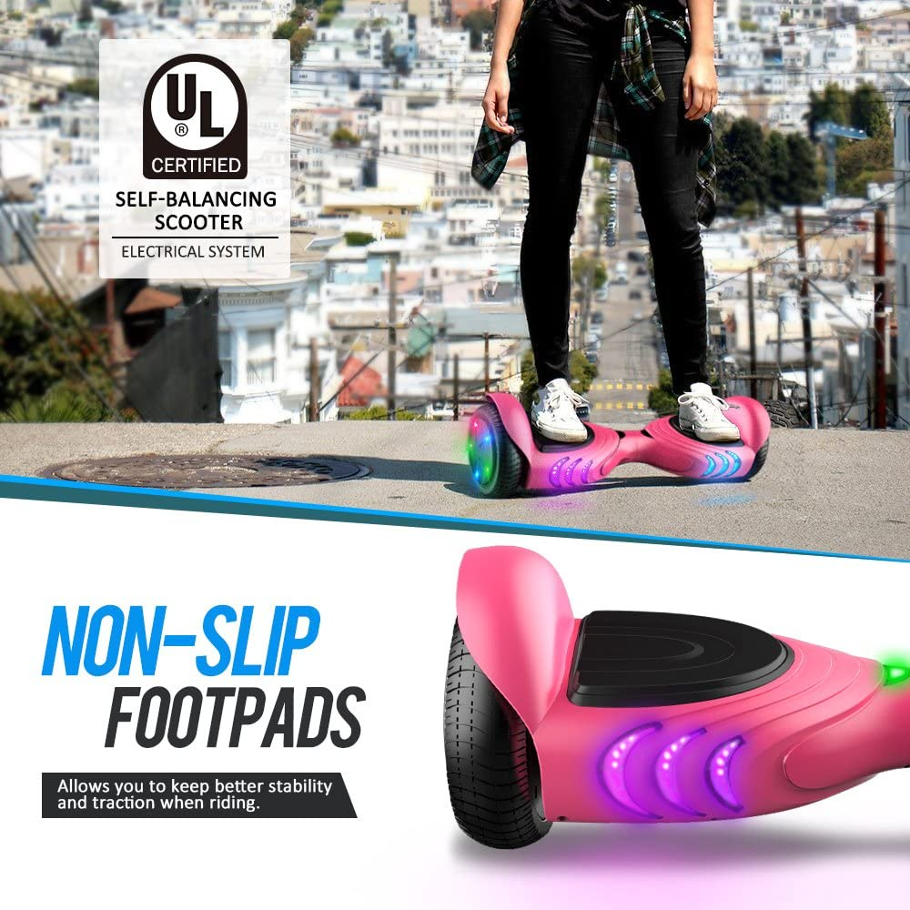 TOMOLOO Hoverboard with Bluetooth Speaker and LED Lights Self-Balancing Scooter - 4