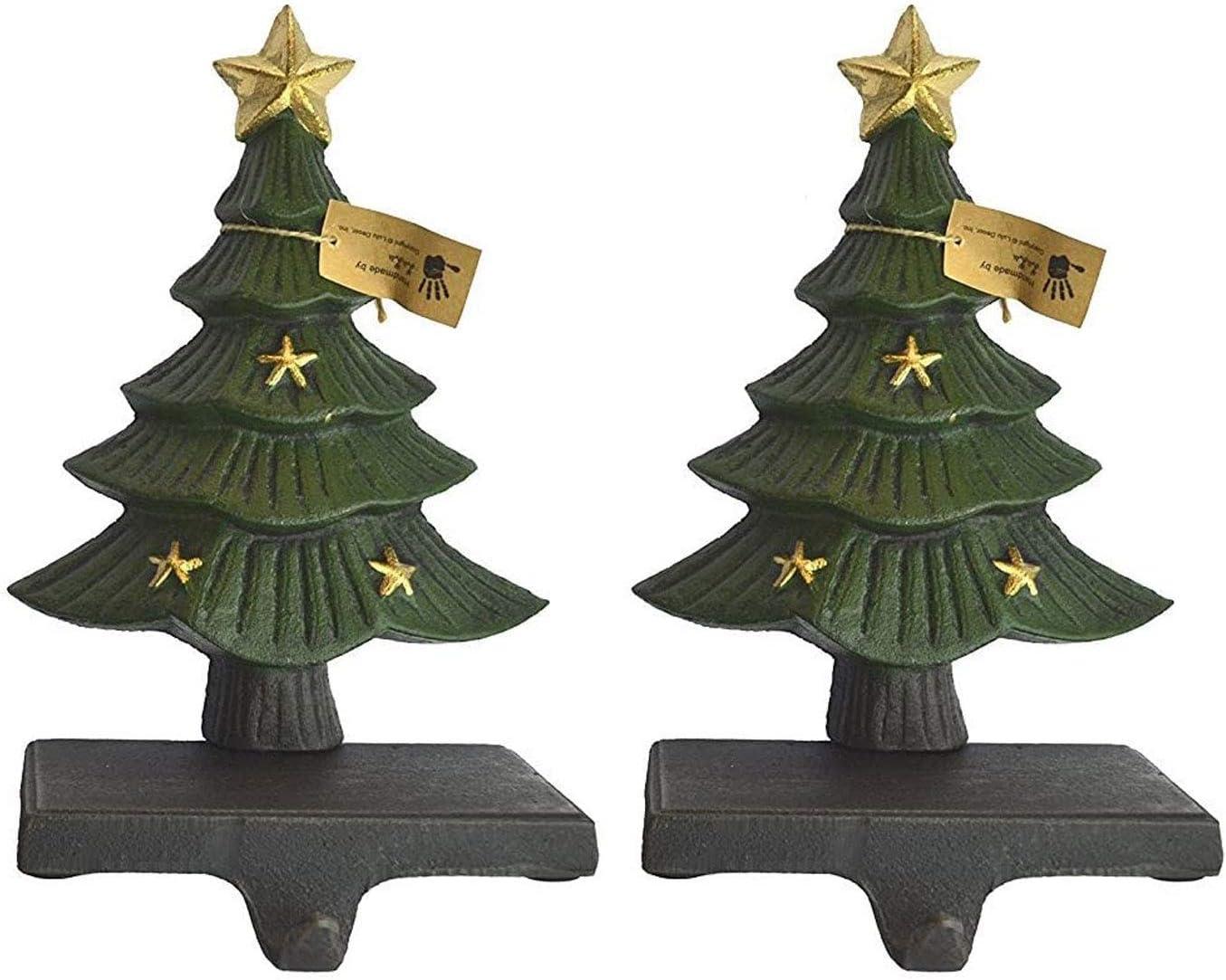 Lulu Decor, Cast Iron Decorative Christmas Tree Stocking Holder, Solid, Beautiful, 2 Piece, Perfect, Stocking Hanger (2 Trees Stars)